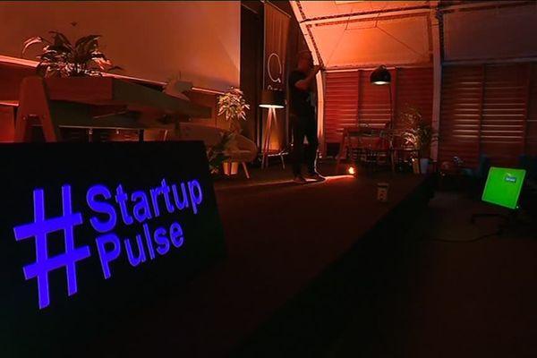 Sur la scène du concours Startup Pulse, à Amiens, le 26 janvier 2019.