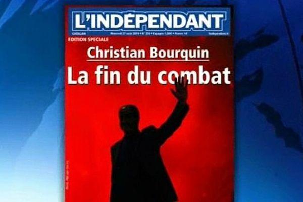 La Une de l'édition spéciale de nos confrères de l'Indépendant après la mort du Catalan, Christian Bourquin - 27 août 2014.