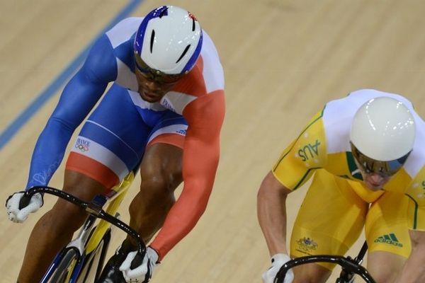 Grégory Baugé (à gauche) et Shane Perkins (à droite) lors de la demi-finale-le 6 août-