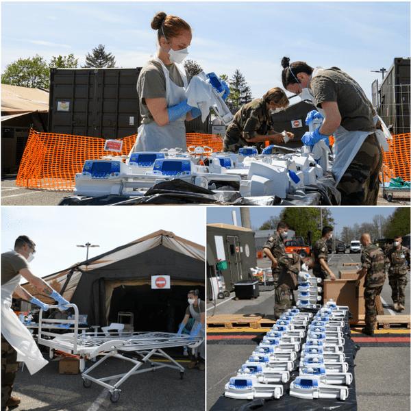 Démontage, nettoyage, désinfection : le matériel est réexpédié en deux camions au centre de Vitry.