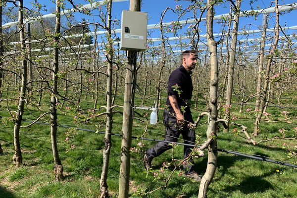 Dans son verger, Laurent Rougerie a installé une station météo mobile et autonome