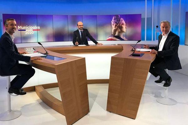 Antoine Maurice (Archipel Citoyen) et Jean-Luc Moudenc (Aimer Toulouse) ont participé au débat animé par Patrick Noviello.