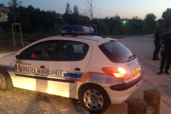 La police devant le parc Maillol de Perpignan