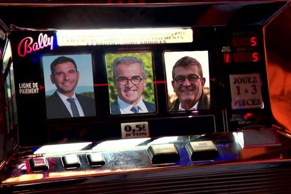 Les candidats à la mairie de Divonne-les-Bains (de gauche à droite à l'image) V.Scattolin, J.Di Stefano, JL.Yguel.