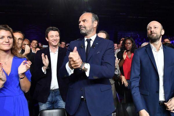 Edouard Philippe (au centre), Marlène Schiappa (à gauche), le chef du parti Stanislas Guerini (à droite) et le candidat à la mairie de Paris, Benjamin Griveaux, le 8 septembre 2019 à Bordeaux.