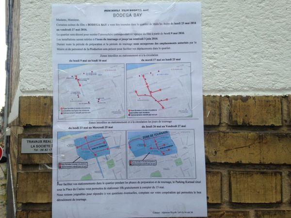 Les restictions de circulation et la zone de tournage à Malo du 23 au 27 mai.