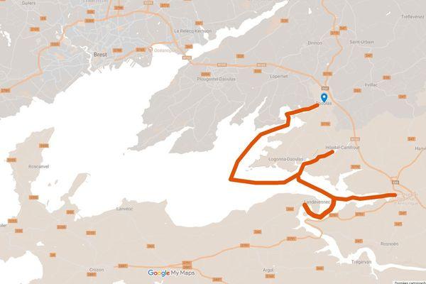 Depuis Daoulas vers Hôpital-Camfrout et Terenez