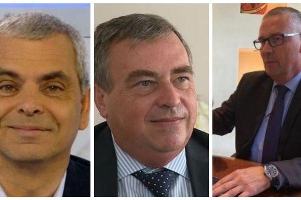 A droite Christophe Bouchet, maire sortantd e Tours, au milieu, Olivier Carré, maire sortant d'Orléans, à gauche Pascal Blanc, maire sortant de Bourges.