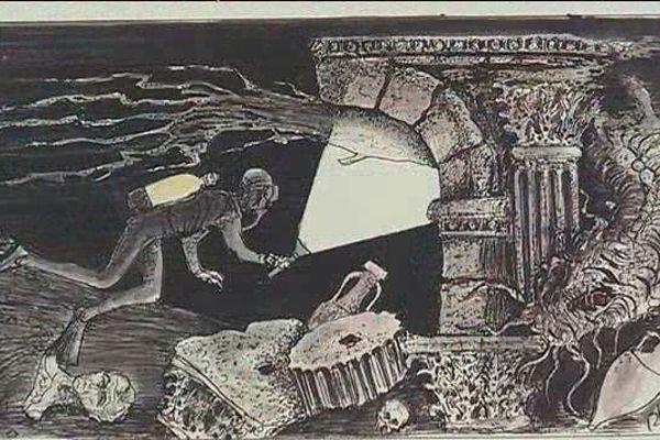 L'un des dessins de l'archéologue Luc Long, exposé à Arles