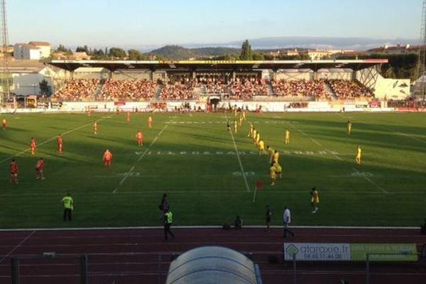 Premier derby de la saison entre Perpignan et Carcassonne en Pro D2. 28 août 2015.
