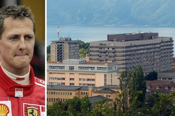 Michael Schumacher a été héliporté vers l'hôpital de Lausanne (à droite) lundi 16 juin.