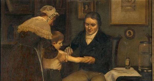 Edward Jenner vaccine un enfant contre la variole, fin XVIII ème siècle, avec le vaccin qu'il a mis au point