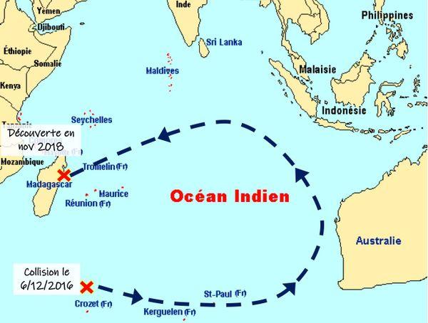 La trajectoire du navire entre décembre 2016 et sa découverte en novembre 2018, d'après Kito de Pavant.