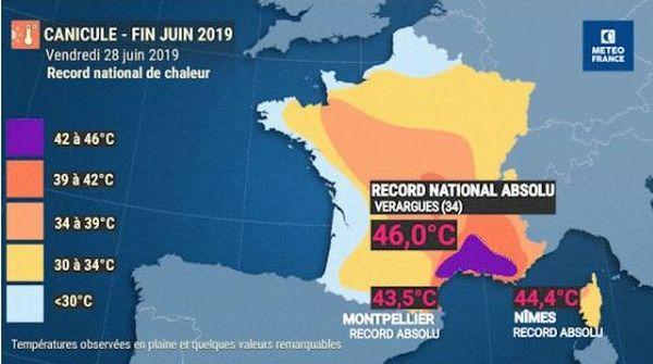 Le 28 juin 2019, de nombreux records de températures ont été relevés dans le Gard et l'Hérault.