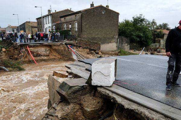 A Villegailhenc, les inondations ont emporté le pont