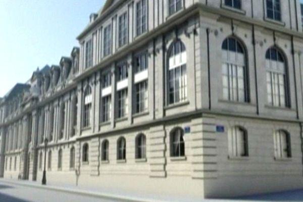 Un aperçu de ce que pourrait donner la représentation du Caen des années 30 en 3D. Ici, l'université avant sa destruction par les bombardements de 1944