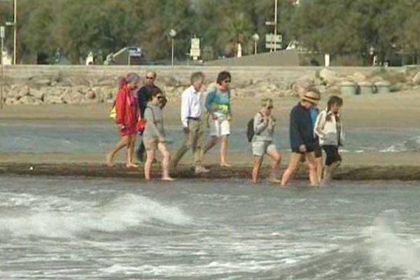 Les curistes en balade sur la plage de la Grande Motte, ils n'ont rien mangé depuis 3 jours.