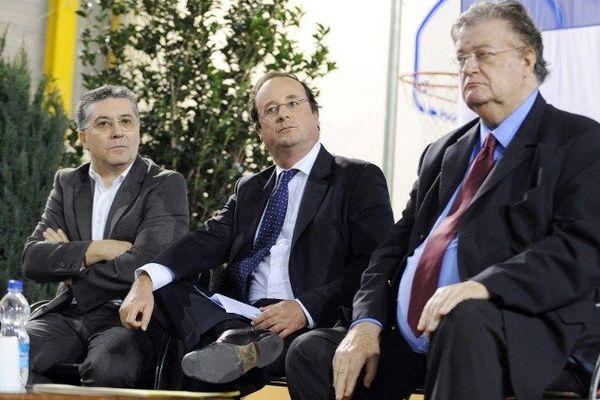 Georges Frêche, François Hollande et Robert Navarro lors d'un meeting de soutien à Hélène Mandroux le 28 février 2008