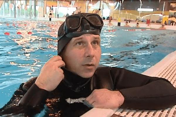 Pascal Mazé pendant l'entraînement à Lannion.