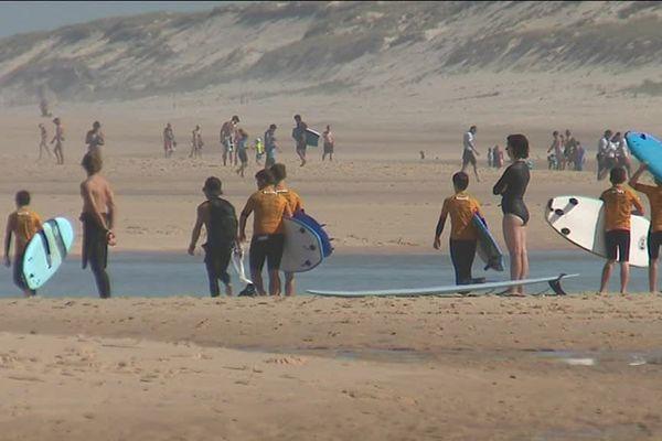 Des centaines de surfeurs viennent chaque jour défier les vagues de l'Atlantique sur les plages de Lacanau.