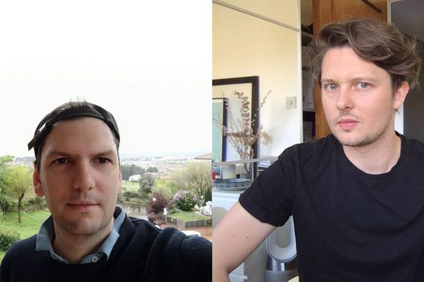 Philippe (à gauche) vit le confinement depuis une résidence secondaire près de Madrid, en Espagne. Florian, Auvergnat expatrié aussi, essaie de continuer à travailler depuis Londres, en Grande-Bretagne.
