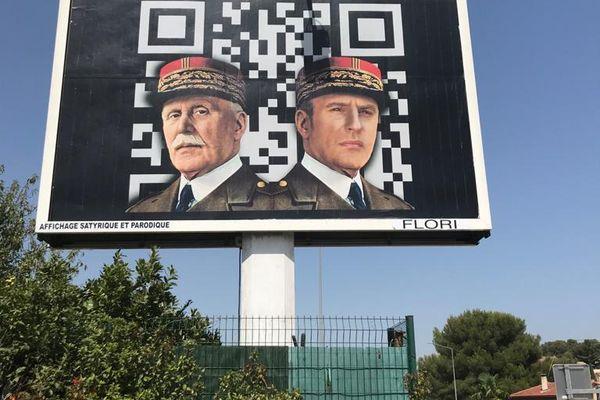 L'afficheur varois Michel-Ange Flori, comparait ce vendredi devant le tribunal correctionnel de Toulon pour injures publiques à cause de ses affiches représentant Emmanuel Macron en Hitler et Pétain.
