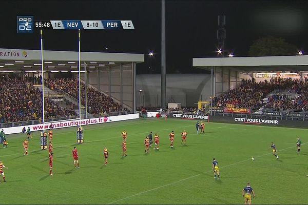 Les joueurs de l'USON Nevers Rugby ont battu Perpignan 14 à 10, lors de la 9e journée du championnat de rugby de Pro D2, jeudi 31 octobre 2019.