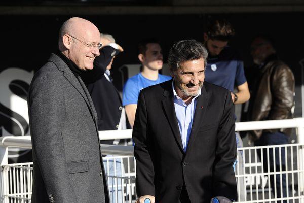 Beranrd laporte, président de la FFR et le président du Montpellier Rugby, Mohed Altrad.