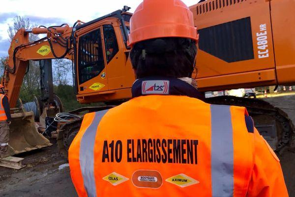 Sur le chantier des travaux d'élargissement de l'A10.