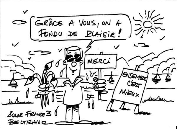"""Un dessin dédicacé de Jean-Jacques Beltramo à l'équipe de l'émission """"Ensemble, c'est mieux !"""""""