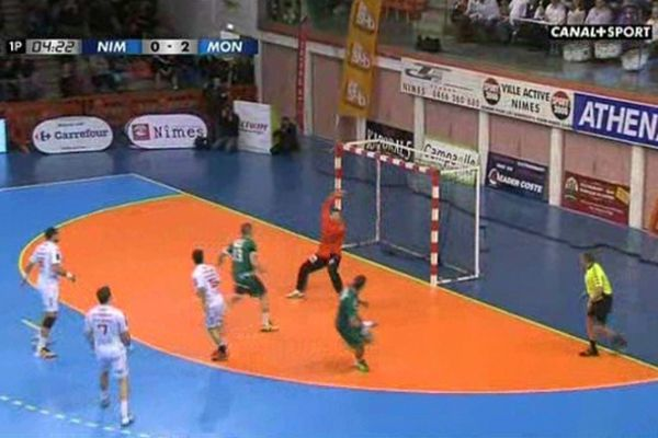 Capture d'écran canal+sport - match de hand Nîmes-Montpellier - 26 avril 2012.