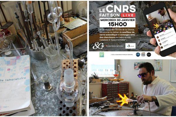 A l'occasion de l'Année de la chimie, le CNRS montrera en direct un exemple de recherches menées en Normandie et comment elles font collaborer différents métiers de la chimie : souffleur de verre, ingénieur de recherche, chercheur...