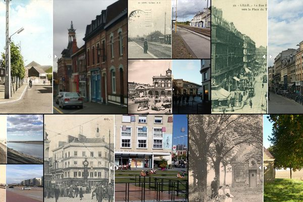 Quelques doubles photos/cartes postales prises dans les Hauts-de-France