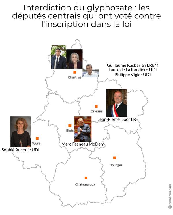 Les députés ayant votés contre l'inscription dans la loi mis sur leur département d'appartenance.