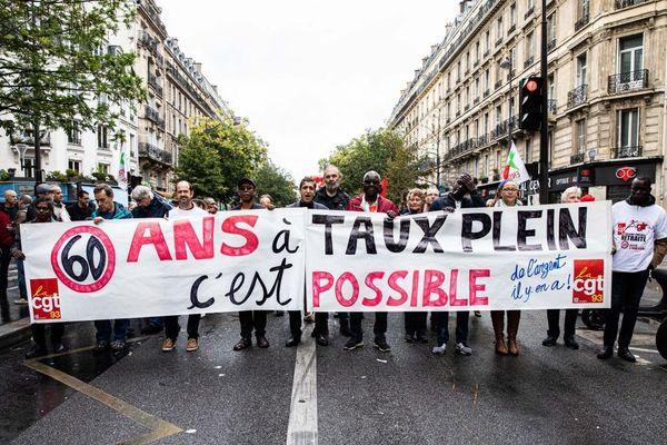 Manifestation à l'appel des organisations syndicales de salariés contre la réforme des retraites et les suppressions d'emploi, et pour la défense des services publics le 24 septembre 2019.