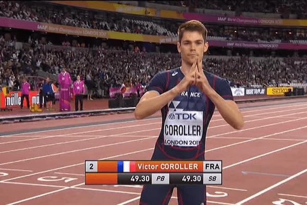 Le Rennais Victor Coroller au départ de sa demi-finale du 400 m haies aux Mondiaux de Londres - 7/08/2017