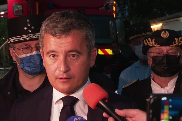 Le ministre de l'Intérieur Gérald Darmanin en visite dans le Gard après les inondations liées à la vigilance rouge du 14 septembre 2021.