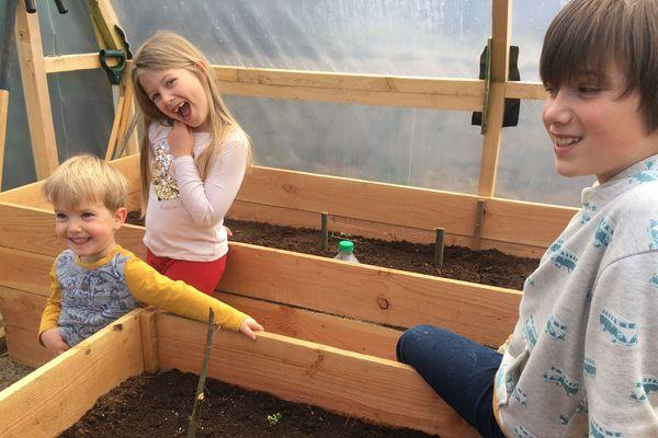 Les enfants profitent du potager