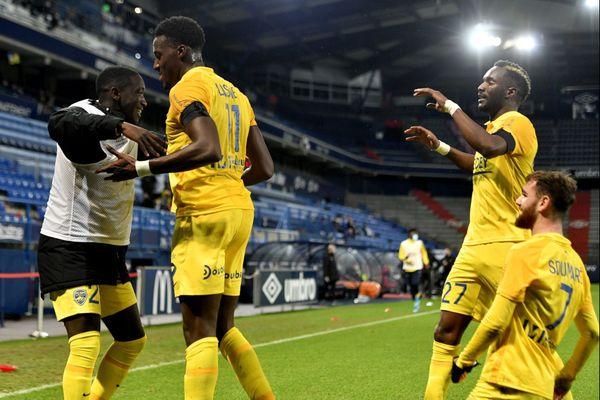 La joie des Sochaliens, face à Caen, le mardi 22 décembre 2020.