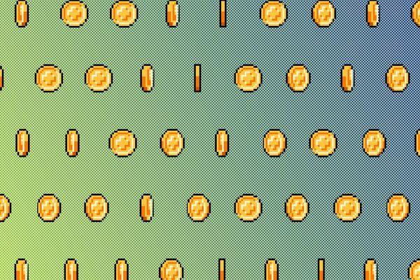 Des pièces de monnaie pixellisées - Photo d'illustration