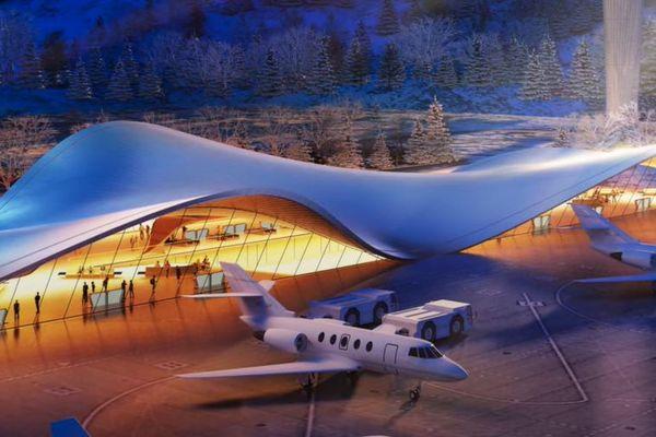 Vue du projet d'aéroport international d'Andorre tel qu'il a été présenté par la chambre de commerce et d'industrie de la Principauté - mars 2021.