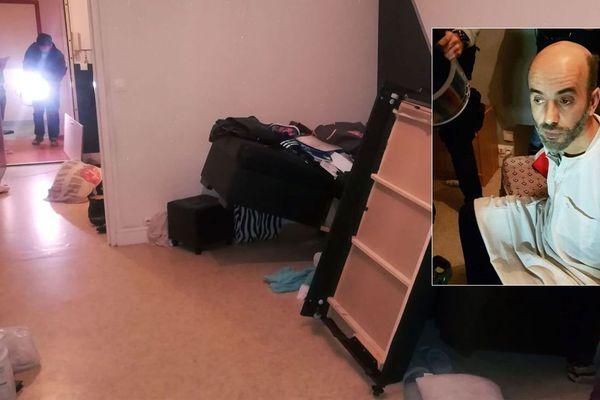 L'intérieur de l'appartement où Redoine Faïd a été retrouvé. En médaillon, la photo de Redoine Faïd au moment de son arrestation