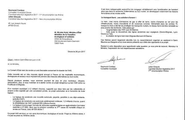 lettre co-signée par Julien GIRAUDO (candidat élection législatives 2017 1ère Circonscription du Rhône) et Raymond Combaz, conseiller municipal de Givors. Le 28 juin 2017