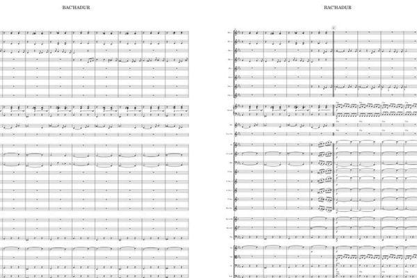 Extrait d'une partition de Bac'hadur- traduire confinement-  Le nouveau morceau créé par le Bagad de Vannes.