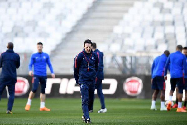 Session d'entraînement du Paris Saint-Germain au stade Matmut Atlantique de Bordeaux, la veille de la finale de la Coupe de la Ligue face à Monaco.