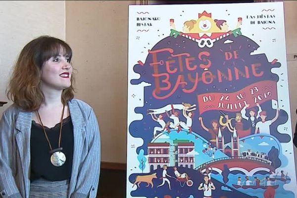 L'affiche dessinée par la graphiste Marjorie Goalard a remporté le concours pour illustrer les Fêtes de Bayonne 2019