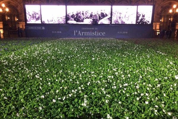 Pour le centenaire de l'Armistice, 94.415 fleurs ont été déposées devant le parvis de l'Hôtel de Ville de Paris.
