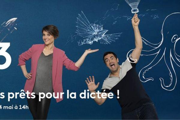 """""""Tous prêts pour la dictée !"""" est présenté par Mélanie Taravant et Alex Goude"""