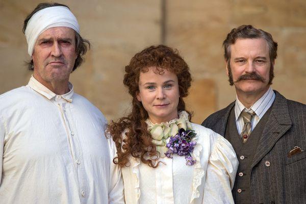 Rupert Everett, Emily Watson et Colin Firth sur le tournage de The Happy Prince en Allemagne le 29 septembre 2016