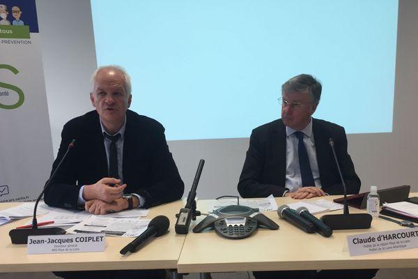 Point presse de l'ARS Pays de la Loire sur le coronavirus, avec JJ Coiplet, le directeur, et Claude D'Harcourt, le préfet de région le 15 mars 2020